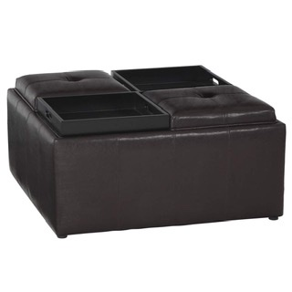 Square Coffee Table ottoman with 4 trays