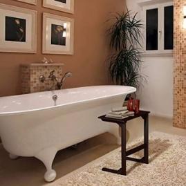 Bamboo side table for sofa or bathtub.